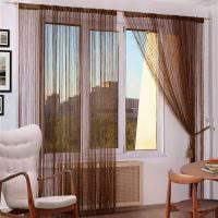 Нитяные шторы коричневого цвета
