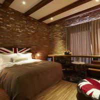 Спальня в стиле лофт на английский манер