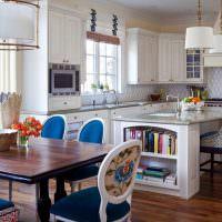 Кухонные стулья с синей обивкой