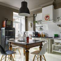 Ретро холодильник в современной кухне