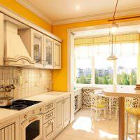 Бежевый гарнитур в комнате с желтыми стенами