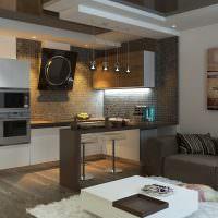 интерьер кухни-гостиной в квартире панельного дома