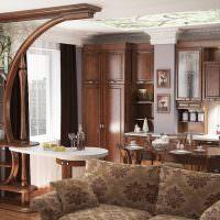Дизайн кухни-гостиной с деревянной мебелью