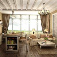 Панорамное окно с коричневыми шторами