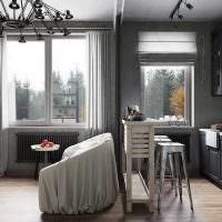 Кухня-гостиная с диваном посередине
