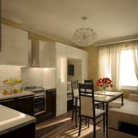 Современная кухня с диваном у стены