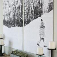 Зимние мотивы на модульной картине
