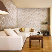 Дизайн гостиной с обоями в пастельных тонах