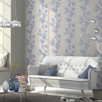 Дизайн гостиной с бумажными обоями