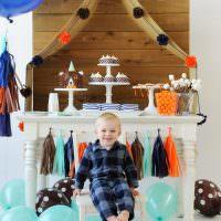 Праздничный стол в детской комнате годовалого мальчика