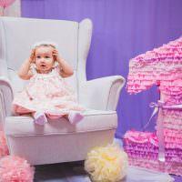 Маленькая девочка на своем дне рождения