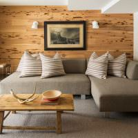 Отделка акцентной стены деревянными панелями