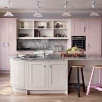 Серый мрамор в интерьере кухни