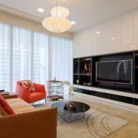 Черно-белая мебель с глянцевыми фасадами