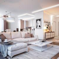 Дизайн гостиной с диваном по середине
