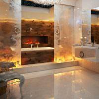Оригинальный дизайн ванной комнаты с камином
