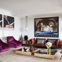 Декорирование стен гостиной с помощью картин