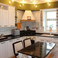 Дизайн кухни с вытяжкой в углу