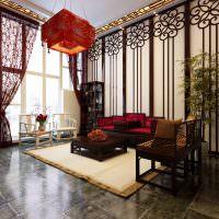 Керамический пол в гостиной китайского стиля