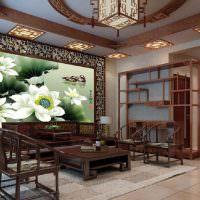 Цветки лотосов на фотообоях в гостиной