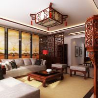 Торшер с деревянным плафоном в интерьере гостиной