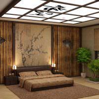 Декорирование бамбуком стен спального помещения