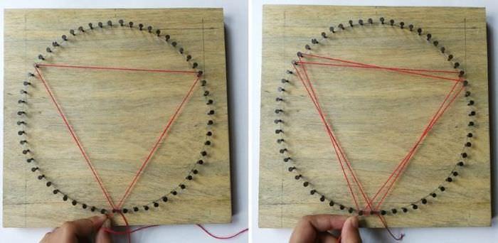 Натягивание цветной нити между мелкими гвоздиками
