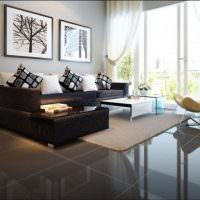Интерьер гостиной с панорамным окном