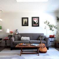 Две картины над серым диваном