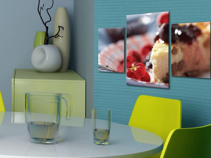 Модульные картины в интерьере современной кухни
