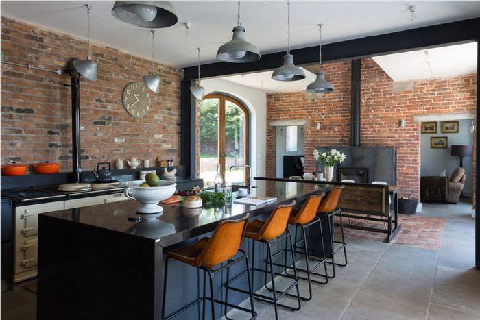 Барная стойка на кухне в стиле лофт