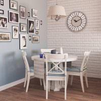 Обеденная зона кухни с белой кирпичной стеной