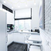 Дизайн небольшой кухни в белом цвете