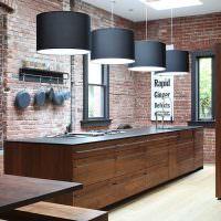 Кухонные светильники с большими плафонами черного цвета