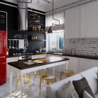 Красный холодильник в современной кухне