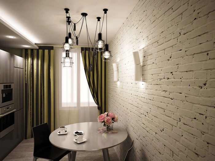 стена из белого кирпича в интерьере кухни (фото)