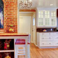 Терракотовый кирпич в интерьере кухни