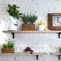 Деревянные полочки с живыми растениями
