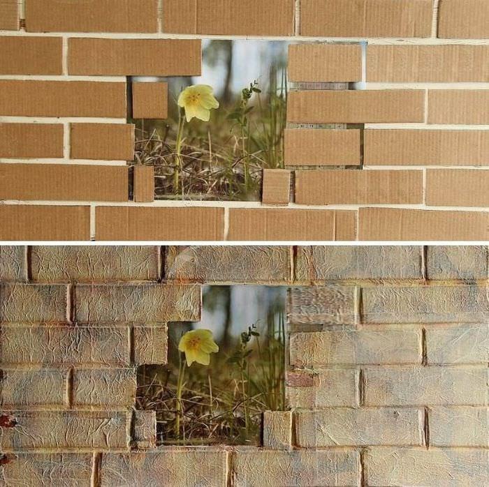 Декор стены под старый кирпич своими руками