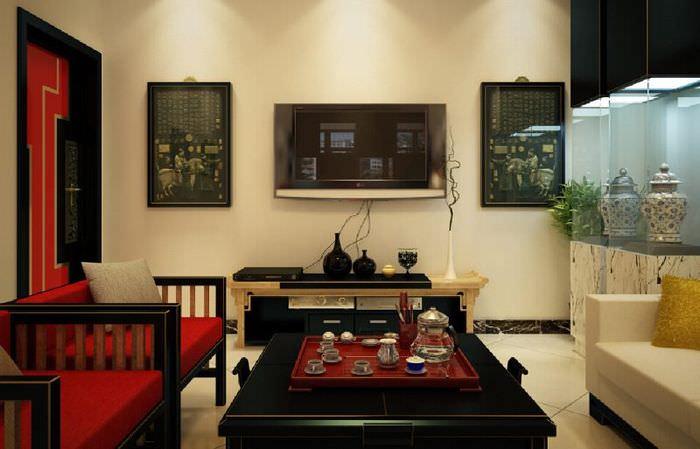 Поднос с чайными принадлежностями на столике в гостиной