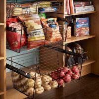 Выдвижные корзины для хранения продуктов