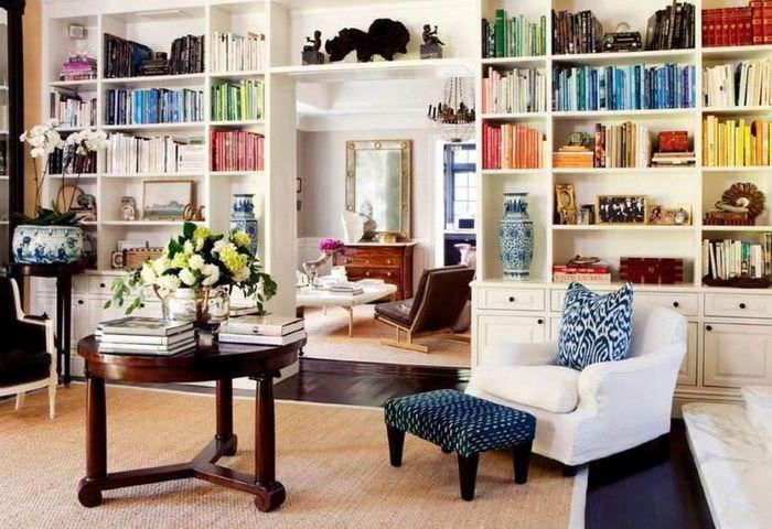 Организация системы хранения книг в гостиной