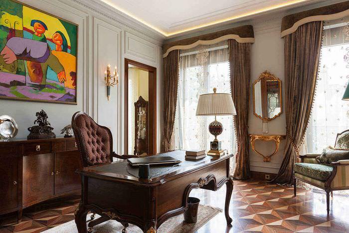 Интерьер рабочего кабинета с коричневыми шторами