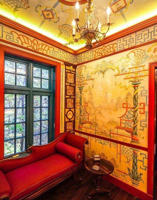 Оформление стен гостиной в китайском стиле