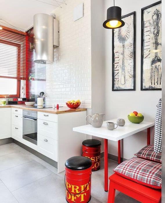 Красный цвет в интерьере современной кухни