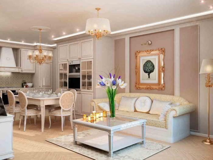 Оформление кухни-гостиной в стиле классики