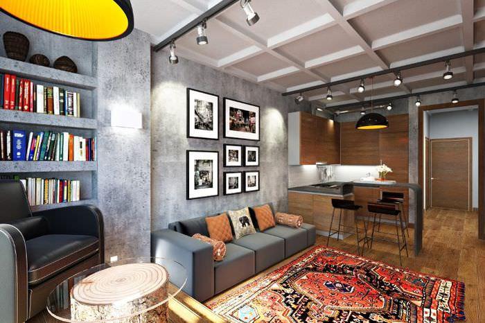 Серые стены кухни гостиной индустриального стиля