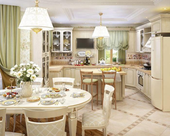 Дизайн небольшой кухни-гостиной в стиле прованс