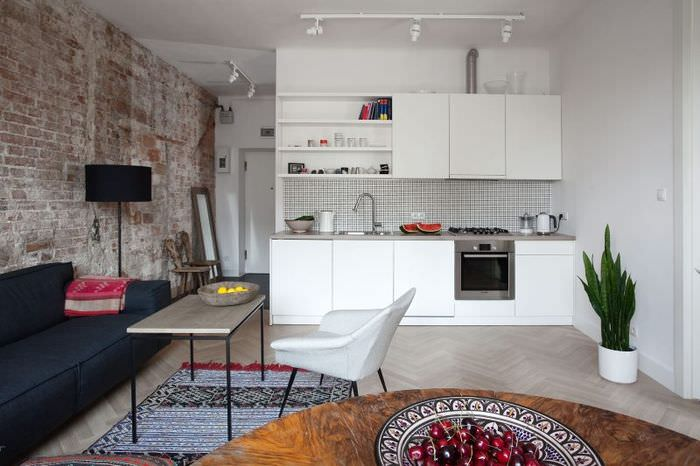 Дизайн кухни гостиной площадью 20 кв м в стиле минимализма