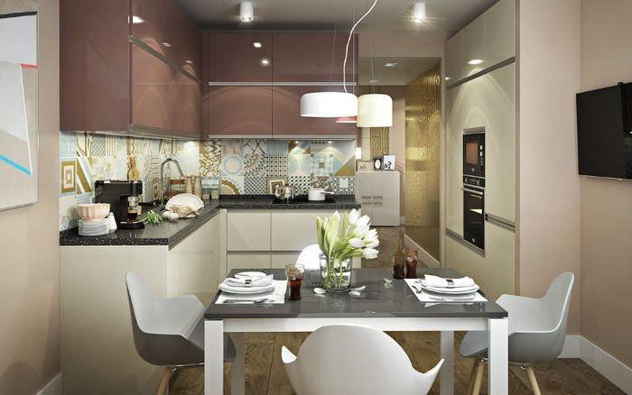 Дизайн кухни с обеденной зоной в двухкомнатной квартире